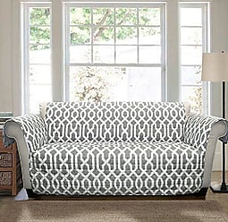 Lush Décor Lush Decor Edward Trellis Furniture Protector - Geometric Pattern Sofa Cover - Gray