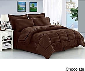 Ben&Jonah Designer Plush Queen 8 Piece Set: Embossed Dobby Stripe Microfiber Bed In A Bag -Chocolate