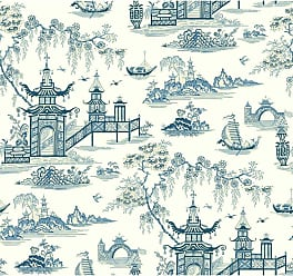 York Wallcoverings 27 ft. Waverly Classics II Peaceful Temple Removable Wallpaper - WC7553