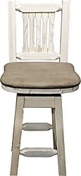 Montana Woodworks MWHCBSWSNRBUCK24 Homestead Collection Counter Height Barstool with Back & Swivel, Buckskin Upholstery, Ready to Finish