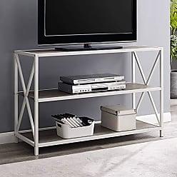 Walker Edison WE Furniture AZS40XMWGWW Bookcase 40 Grey Wash/White Metal