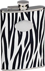 Visol Products VisolZebra Leather Stainless Steel Flask, 8-Ounce, Black/White