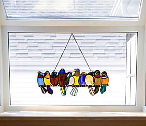 River of Goods Birds on a Wire 9.25-inch Stained Glass Window Panel - 24.25L x 0.25W x 9.5H (Multicolor)