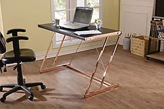 Benzara BM163553 Metal Rectangular Writing Desk with USB Dock, Black and Rose Gold