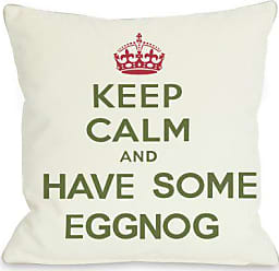 One Bella Casa Keep Calm & Have Some Eggnog Throw Pillow Cover by OBC, 16x 16, Ivory/Green/Red