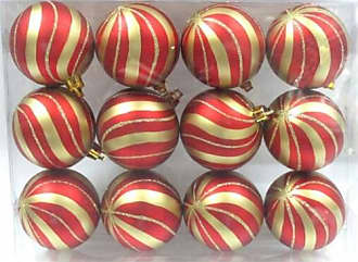 Queens of Christmas WL-ORN-12PK-SPL-GO Red Ball Ornament with Gold Sprial Design (Pack of 12)