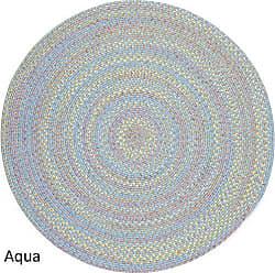 Rhody Rug Sandbox Aqua Blue Multi 6 Round
