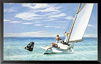 Buyartforless Buyartforless Framed Ground Swell by Edward Hopper 36x22 Museum Art Print Poster Sailing Seaside Ocean Coastal