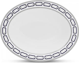 Wedgwood with Love Nouveau Indigo Rim Open Oval Vegetable Bowl, 9.75-Inch, White