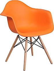 Flash Furniture Alonza Series Orange Plastic Chair with Wood Base