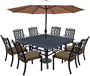 Oakland Living Outdoor Oakland Living Morocco Aluminum 11 Piece Patio Dining Set with Square Table Brown - 7206T-7215C8-D54-4005CPBK-4236-19-AB