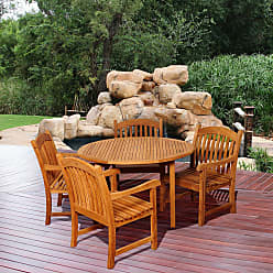 Havenside Home Tottenville 5-piece Round Light Brown Outdoor Dining Set (100 L x 100 W x 35 H Light Brown)