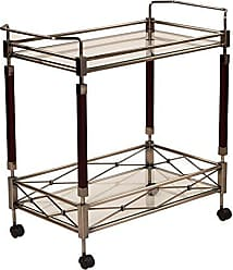 Office Star Melrose Metal Frame Serving Cart with Antique Brass Finish and 2 Tempered Glass Shelves