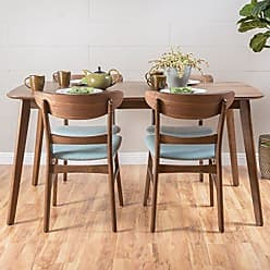 GDF Studio Christopher Knight Home 299278 Helen Mid Century Fabric & Wood Finish 5 Piece Dining Set (Walnut/Mint)