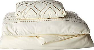 Chic Home 4 Piece Bea Embroidered Duvet Cover Set Shams and Decorative Pillow, King, Beige