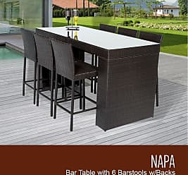 TK Classics Napa Bar Table Set With Barstools 7 Piece Outdoor Wicker Patio Furniture