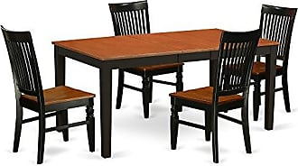 East West Furniture NIWE5 BCH W Nicoli Kitchen and Dining Room Sets 5 Pieces Black & Cherry