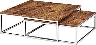 Relaxdays Couchtisch Holz FLAT 2er Set Natur HBT 27 X 80 X 80 Cm Großer  Wohnzimmertisch