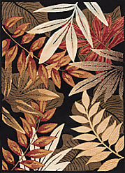 Tayse Pomona Transitional Botanical Black Rectangle Area Rug, 5 x 7