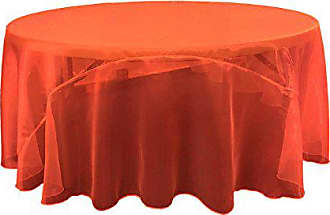 LA Linen Sheer Mirror Organza Round Tablecloth 120-Inch, Red, 120