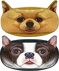 Wrapables Dog Face Zippered Pencil Case (Set of 2), Chihuahua & Bulldog