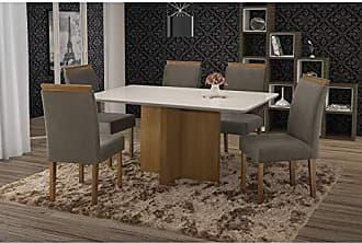 Siena Móveis Conjunto Sala de Jantar em Madeira Maciça Mesa Pérola 6 Cadeiras Amanda Siena Móveis Castanho/Suede 70