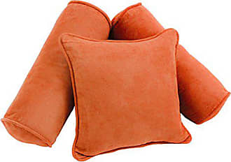 Blazing Needles 9816-S3-CD-MS-TD Double-Corded Solid Microsuede Throw Pillows with Inserts (Set of 3), Tangerine Dream