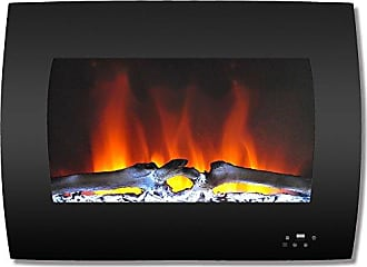 Cambridge Silversmiths CAM26WMEF-2BLK 26 In. Curved Wall-Mount Electric Fireplace in Black with Multi-Color Flames and Log Display