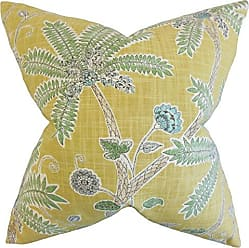 The Pillow Collection Mead Floral Amber Down Filled Throw Pillow