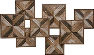 Deco 79 Farmhouse Overlapping Squares Wooden Wall Decor, 27 H x 45 L, Natural Wood Brown