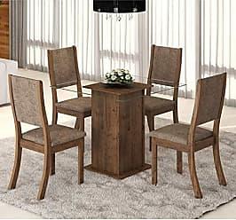 Viero Conjunto Sala de Jantar Mesa Tampo em Vidro Magia 4 Cadeiras Kiara New Viero Grigio/Canela