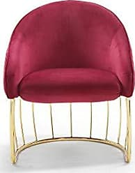 Iconic Home FAC9102-AN Teatro Accent Club Chair Shell Design Velvet Upholstered Half-Moon Gold Plated Rods Solid Metal Base Modern Contemporary, Red