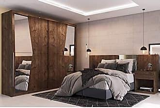 Siena Móveis Quarto de Casal Completo com Guarda Roupa 2 Portas e Cabeceira com 2 Criados Mudos Siena Móveis Canela
