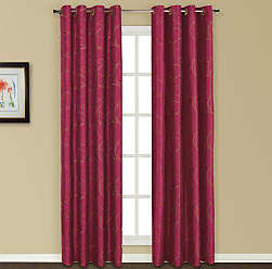 United Curtain Sinclair Embroidered Window Curtain Panel, 54 by 63-Inch, Burgundy