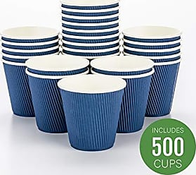 Restaurantware Disposable Paper Hot Cups - 500ct - Hot Beverage Cups, Paper Tea Cup - 8 oz - Midnight Blue - Ripple Wall, No Need For Sleeves - Insulated - Wholesale - Takeout Coffee Cup - Restaurantware
