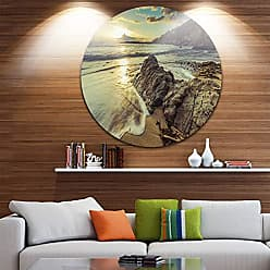 DESIGN ART Designart Sunset at Beach Vintage Style Modern Seascape Circle Wall Art - Disc of 38 38x38-Disc of 38 inch