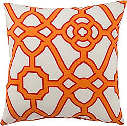 Jaipur Geometric Pattern Orange Polyester Polly Fill Pillow, 18-Inch x 18-Inch, Snow White Odl Pavilion