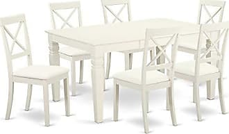East West Furniture LGBO7-LWH-LC Logan Set Linen White
