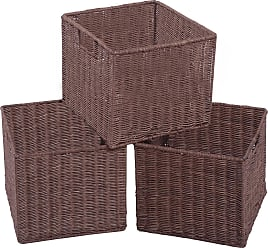 Costway Set of 3 Cube Wicker Rattan Storage Baskets