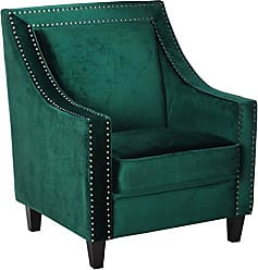 Iconic Home FAC2994-AN Camren Accent Club Chair Velvet Upholstered Swoop Arm Silver Nailhead Trim Espresso Finished Wood Legs Modern Contemporary, Green
