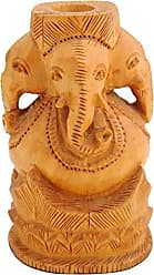 SouvNear Hand-Carved 4 Inch Brown Ganesha Sculpture Pen/Pencil Stand in Wood with Figurines of Lord Ganesha - Handmade Pen Holder/Desk Organizer - Table Top Accessories - Office/Home