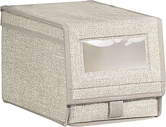 InterDesign Aldo Fabric Shoe Box with Clear Window and Pull Tab Closure for Closet Storage - Small, Linen
