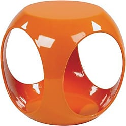 Office Star Ave Six Slick High Gloss Finish Cube Occasional Table, Orange