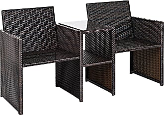 Costway Patio Rattan Conversation Cushioned Seat Sofa Set