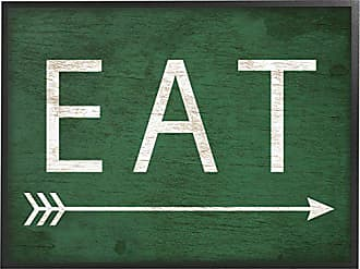 Stupell Industries The Stupell Home Decor Collection Eat With Arrow Green Framed Giclee Texturized Art, 11 x 1.5 x 14, Proudly Made in USA