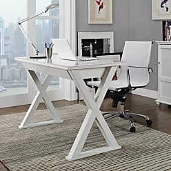 Walker Edison WE Furniture 48 Storage L Shaped Modern Computer Desk for Home Office, White Contemporary Reclaimed Look