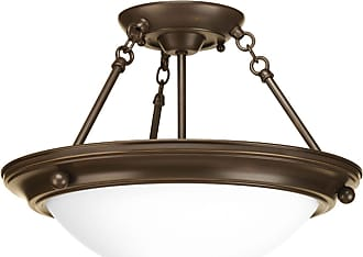 PROGRESS Eclipse Antique Bronze 2-Lt. close-to-ceiling with Satin white glass bowl
