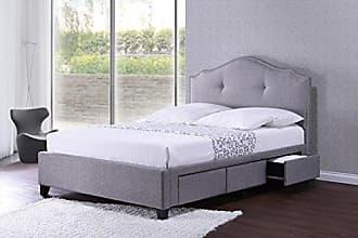 Wholesale Interiors Baxton Studio BBT6329-Queen-Grey Armeena Linen Modern Storage Bed with Upholstered Headboard, Queen, Grey