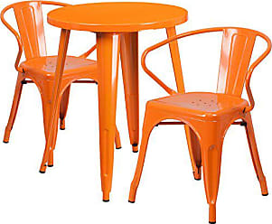 Flash Furniture 24 Round Orange Metal Indoor-Outdoor Table Set with 2 Arm Chairs