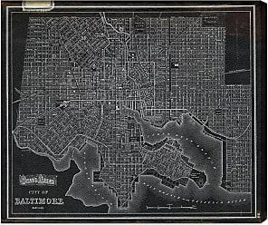 Hatcher & Ethan City of Baltimore Map 1874 Canvas Art - HE11064_17X20_CANV_XHD_HE